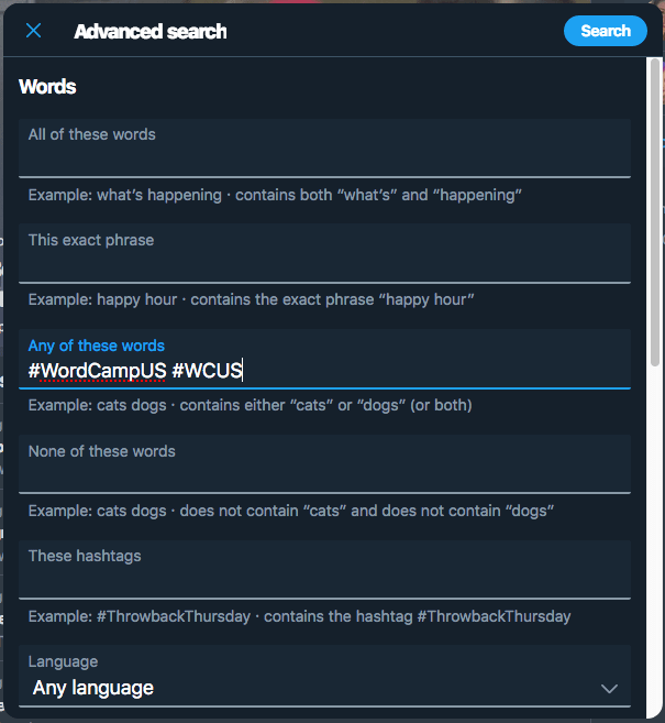 "The Twitter advanced search, with ""#WordCampUS"" and ""#WCUS"" in the ""Any of these words"" field"