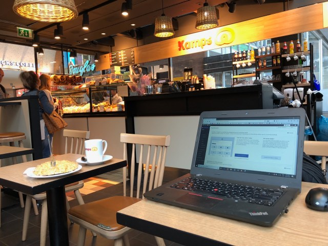 My little workstation for the morning, with lots of people coming and going around me