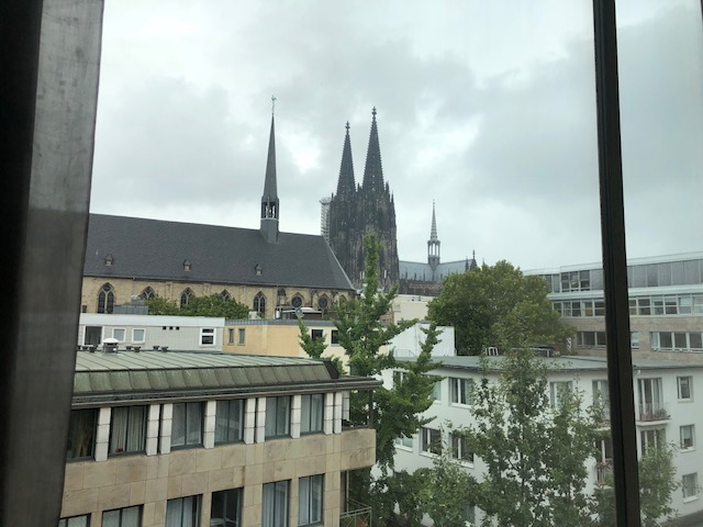 Throughout the museum, which went up 3 stories with very high ceilings, you got views of Cologne through the windows, here with the ever-present cathedral
