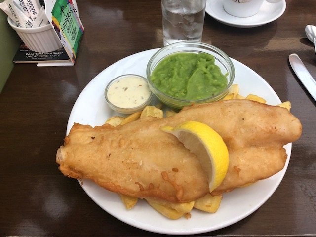 Fish and chips and mashed peas