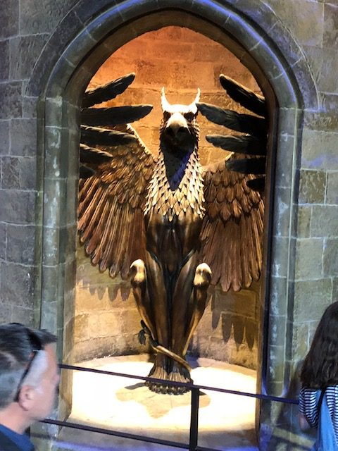 The phoenix staircase leading up to Dumbledore's office