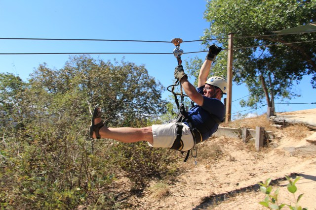 The first zip line. And away we go!