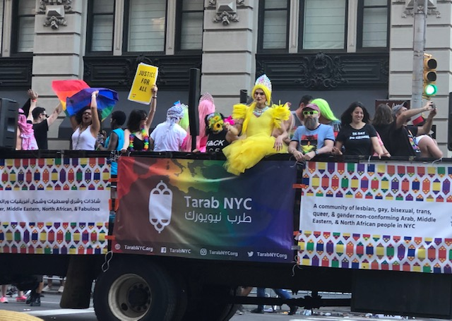 """Tarab NYC. Banner reads """"A community of lesbian, gay, bisexual, trans, queer & gender non-conforming Arab, Middle Eastern & North African people in NYC"""