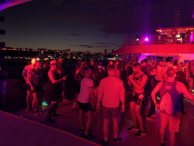 Dancing on the top level of the boat