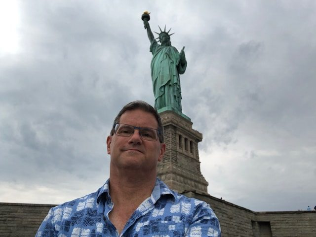 Selfie using the stick, full pedestal, statue, a bit of the star base behind me
