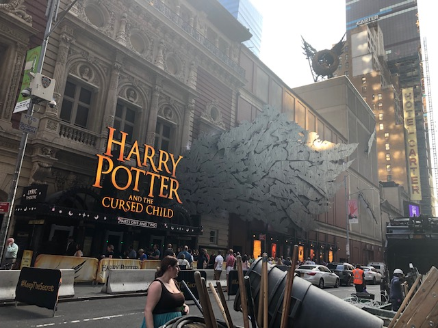 A more extravagent marquee for Harry Potter and the Cursed Child; the flying bird's nest is way up on the rooftop