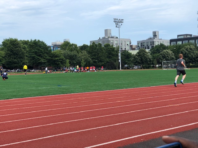 Soccer field with an 8 lane race track around it
