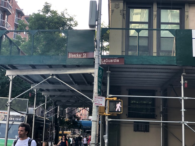 Street sign of intersection of Bleecker and LaGuardia