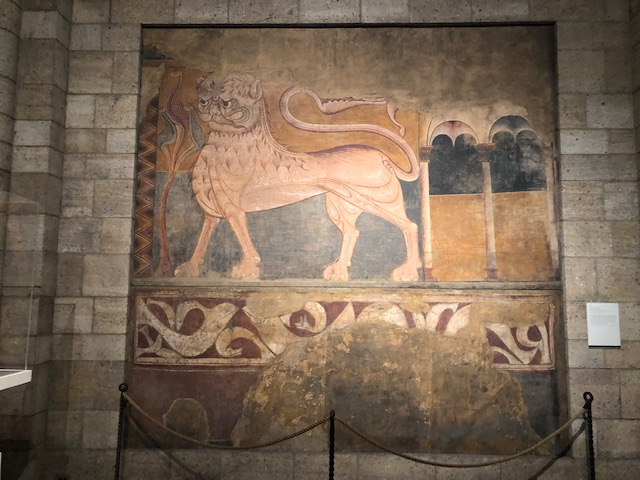 Medieval painting of a lion