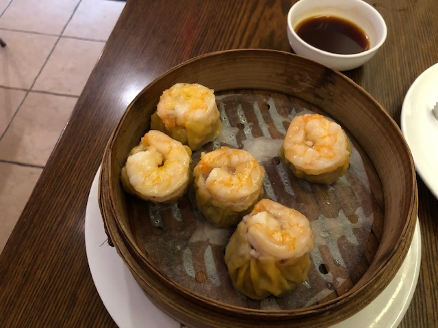 Shumai with shrimp on top