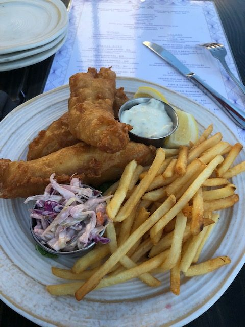 Fish and chips with cole slaw