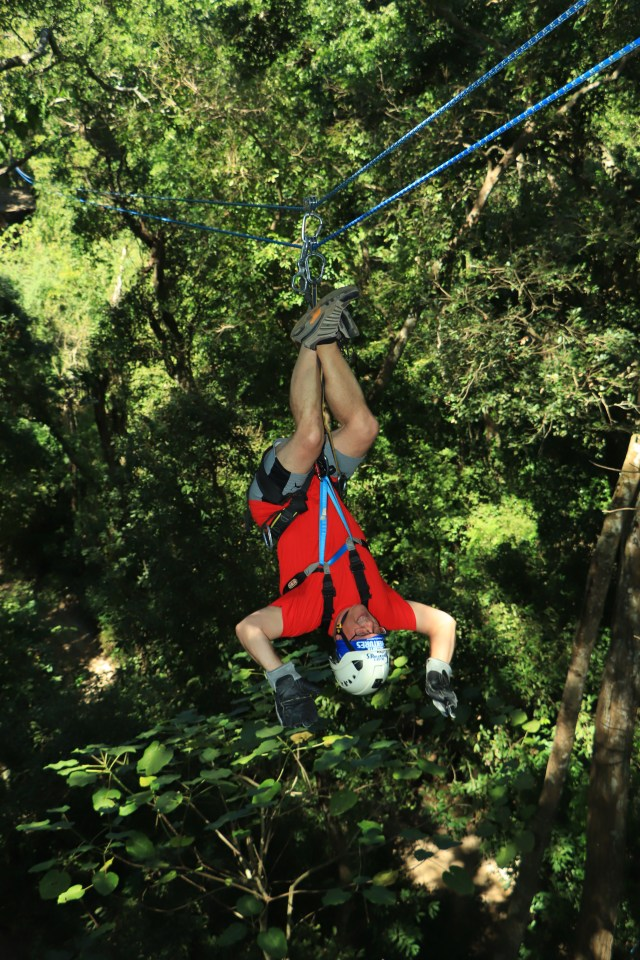 me upside down and backwards on the zip line!