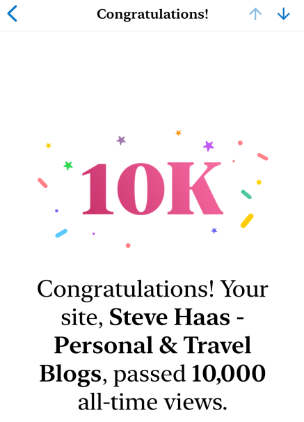 Text says: Congratulations! Your site passed 10,000 views!