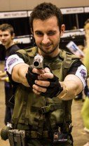 Chris Redfield with an old school Nintendo blaster