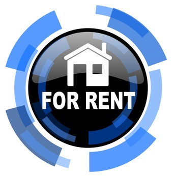 for rent black blue glossy web icon