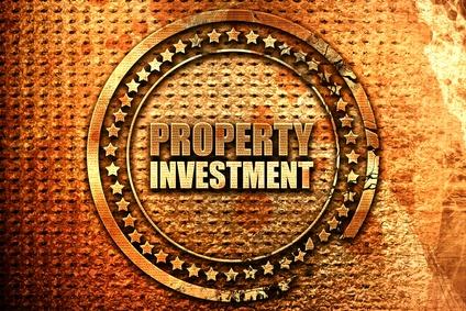 property investment, 3D rendering, grunge metal stamp