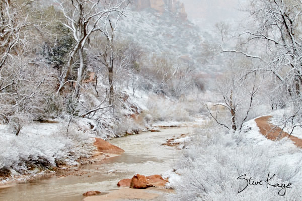 Virgin River, Zion, From Footbridge at Lodge, Snow, (c) Photo by Steve Kaye