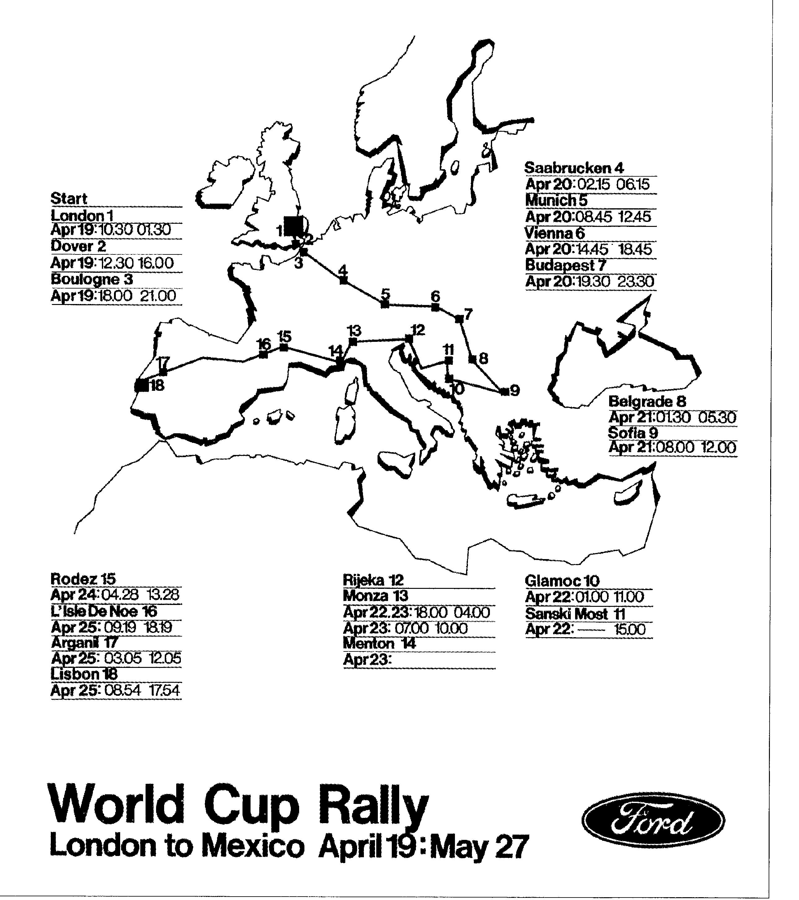 World Cup Rally Route & British Leyland's Team
