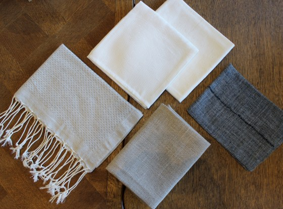 Neutral cloth napkin selection at steve mckenzie's.