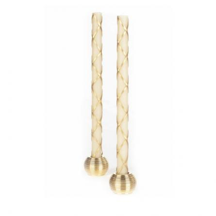 "Ivory and gold ""fishnet"" tapers"