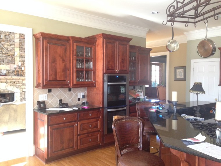 before after, 90s kitchen, dark kitchen, dark countertop, remodel, hanging pot rack