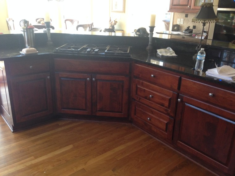 before after, 90s kitchen, dark kitchen, dark countertop, remodel
