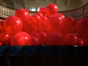 inflating the balloons in Preston Methodist Chapel