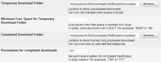 SABnzbd Download Settings