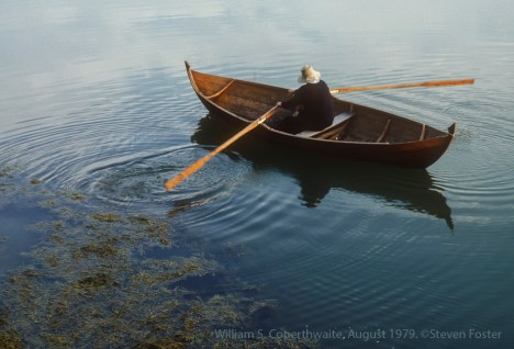Bill Coperthwaite, August 1979, photo shoot highlighting design and lines of the counterweighted, narrow-feathered, Norwegian oars.