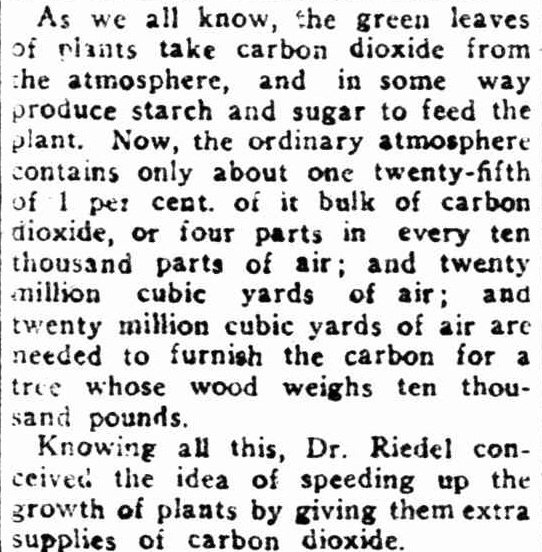 1922 Shock News : Higher CO2 Levels Needed To Feed The