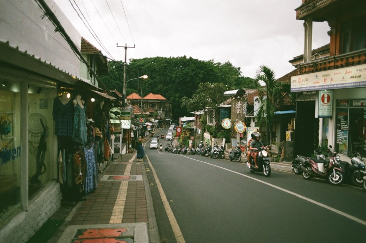 Analogue photo of Monkey Forest Road in Ubud