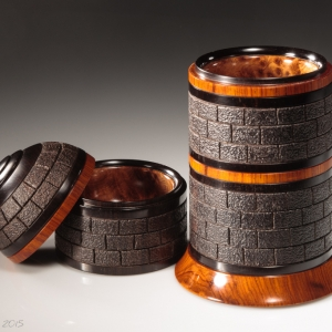 Tower Box 3 open showing details - African blackwood, cocobolo and thuya root burl. Approximately 3 3/4″ in diameter and 7.5″ high. $2600 - contact for purchase information Steven Kennard