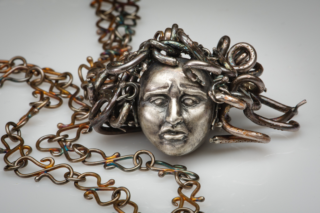 """""""Medusa""""  pendant created by Elizabeth Goluch in collaboration, May 2010.  Sterling Silver"""