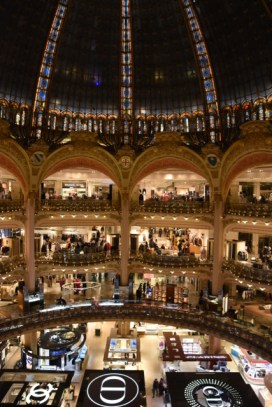 I'm not a huge department store person but I do appreciate beautiful architecture. Above: The interior of the famed Galeries Lafayette department store. Right: the incredible dome topping the store.