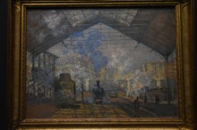 Monet's train series. It's amazing the difference between painting with and without glass. With the unglassed frames you can really see the brush strokes almost as if observing how the painters painted.