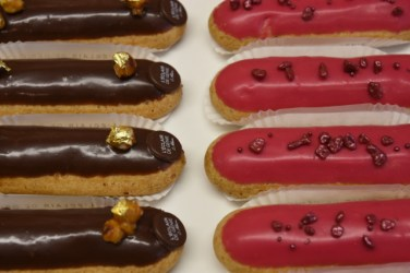 His eclairs are a bit smaller ( and more expensive) than normal but are worth it.