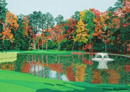 Duke Golf Course Hole No 12 limited edition lithograph by Steven Ray Miller Durham NC artist
