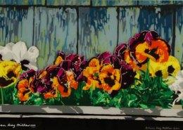 Edgartown Pansies original 3-D acrylic painting on glass by Steven Ray Miller Durham NC artist