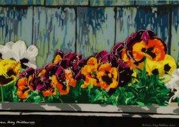 Edgartown Pansies original 3-D acrylic painting on glass by Steven Ray Miller Durham NC artist