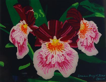 Orchids original 3-D acrylic painting on glass by Steven Ray Miller Durham NC artist