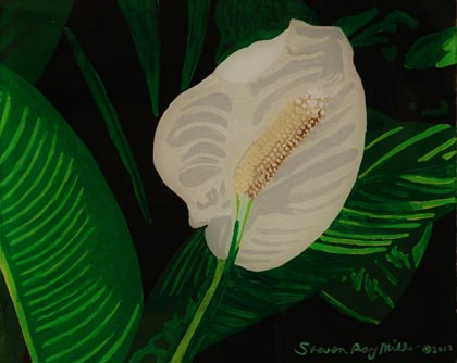 Peace lily original 3-D acrylic painting on glass by Steven Ray Miller Durham NC artist