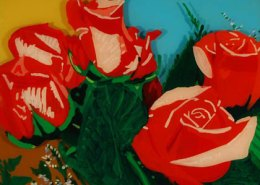 Roses original 3-D acrylic painting on glass by Steven Ray Miller Durham NC artist