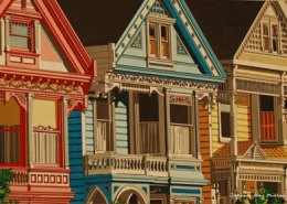 San Francisco Victorians Original Gouache by Steven Ray Miller Durham NC-based artist
