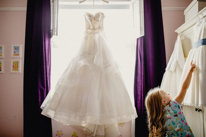wedding dress hanging up in cheshire
