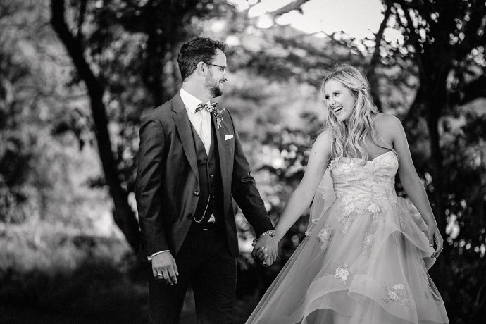 bride and groom, black and white portrait,