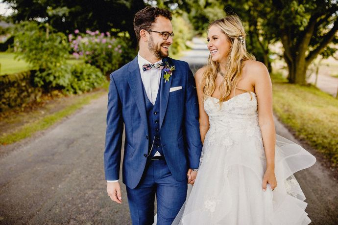 colour photo of bride and groom