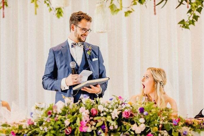 surprise from the groom, bride's shocked reation