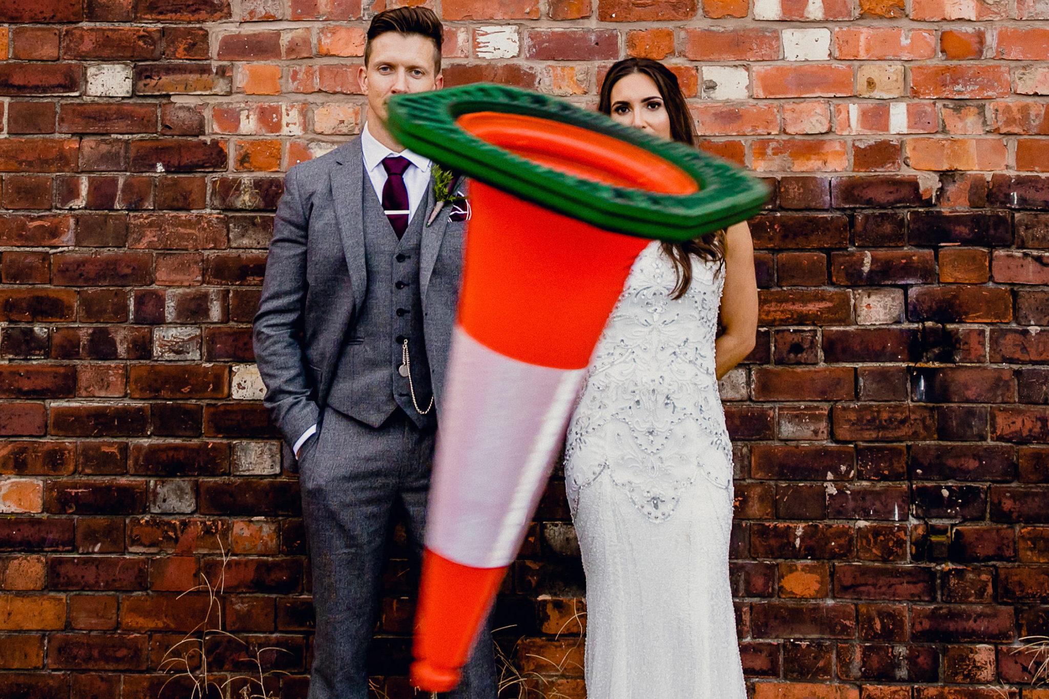 traffic cone, wedding pics