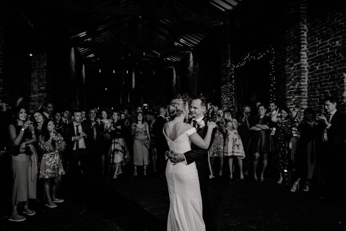 first dance of the married couple at meols hall tithe barn