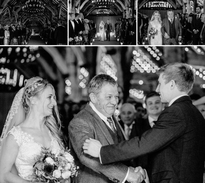 meeting the groom, boquet, wedding dress, abbey, barn wedding